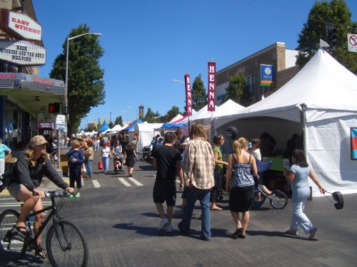 Tons of vendors, food, people and fun.  Every July for a 3 day weekend, right outside your front door.