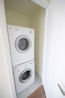Front Loading Stacked Washer/Dryer.
