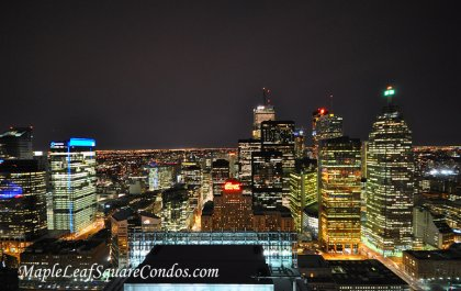 Spectacular Night Views Of Toronto's Skyline Including The Financial District & The Iconic Royal York Hotel.