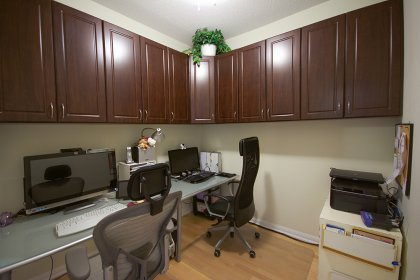 Spacious Sized Den Can Be Used As A Second Bedroom or Home Office With Gleaming Hardwood Flooring & A Pocket Door.