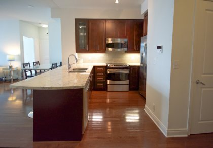 Designer Kitchen Cabinetry With Stainless Steel Appliances, Granite Counter Tops, Undermount Sink, Valance Lighting, Stone Backsplash & Breakfast Bar.