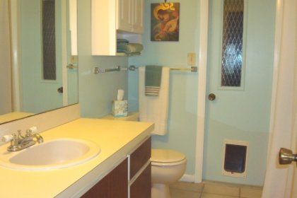 The master bathroom has a large vanity and step in shower. The floor is covered in ceramic tile. The door leads to the laundry room.