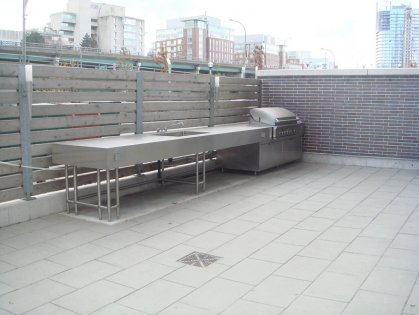 Outdoor Patio With Barbecues.