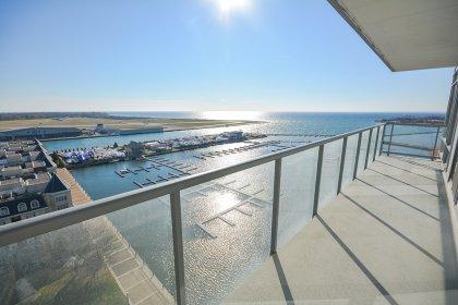 Huge Full Length Balcony Facing Unobstructed Lake Views.
