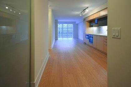 Suite Foyer With Large Closet & Laminate Flooring.