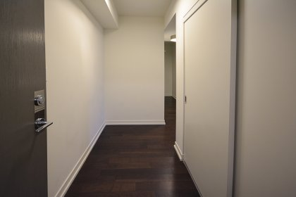 Suite Foyer With A Large Closet & Laminate Flooring.