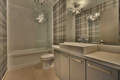 Main Bath With A 4-Piece & Designer Wall Paper.