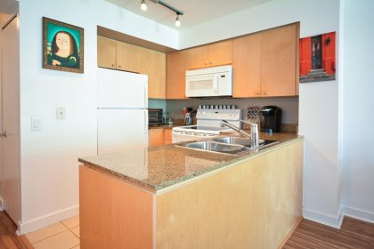 Designer Kitchen Cabinetry With Newer Stove, Microwave, Dishwasher and Granite Counter Tops.
