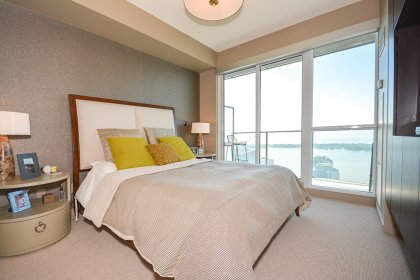 Spacious Sized Master Bedroom With Designer Wall Paper, Built-In Wall Unit, 5-Piece Ensuite, Customized Walk-In Closet & A Walk Out Facing The Lake.