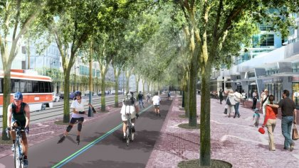 New Harbourfront Revitalization Including The Martin Goodman Trail Along Queens Quay West - Artist Rendering.