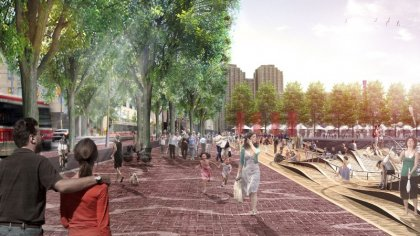 New Harbourfront Revitalization Including The South Side Pedestrian Promenade Along Queens Quay West - Artist Rendering.