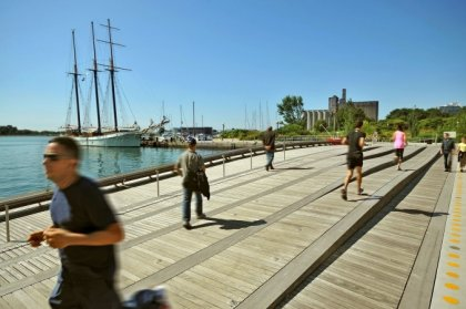 Newly Completed Revitalized Harbourfront Wave Decks At Spadina Avenue & Queens Quay West.