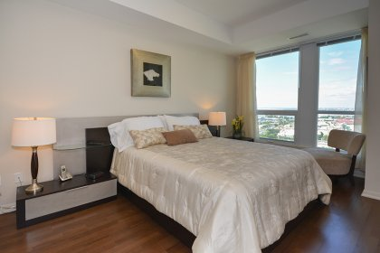 Spacious Sized Master Bedroom With Window Lake & Park Views, 4-Piece Ensuite With Separate Stand-Up Shower, Double Mirrored Closet & Walk-In Closet.