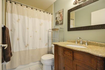 Main Bath With A 4-Piece Including An Updated Bathroom Vanity & Marble Counter Top.