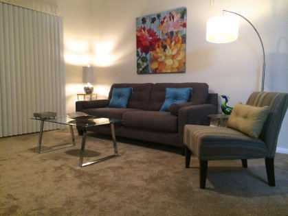 comfortable seating area, ceiling fan, entry to patio