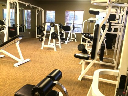 cardio, free weights, machines, overlooks pool area