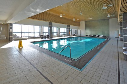 35th Floor Rooftop Indoor Pool, Tanning Area & Party Room Overlooking Stunning Unobstructed Toronto's Harbourfront & Centre Island Views.