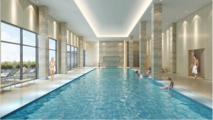 The Luxurious CLUB W Indoor Lap Pool With Jacuzzi.