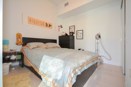 A Spacious Sized Master Bedroom With A Large Closet & Glass Sliding Frosted Door.