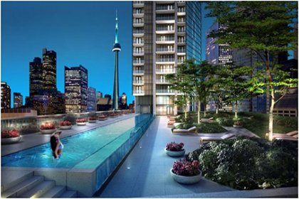 Outdoor Roof Top Terrace With An Infinity Pool & Tanning Deck Overlooking C.N. Tower Views.