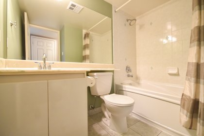 Main Bath With A 4-Piece, Full Sized Mirror & A Jacuzzi Soaker Tub.