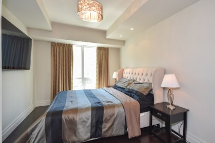 A Spacious Sized Master Bedroom With Pocket Doors, Gleaming Hardwood Flooring Throughout, A Custom Walk-In Closet & Park Views.