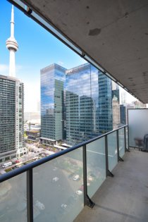 Large Private Balcony With C.N. Tower Views.