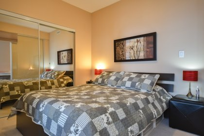 A Spacious Sized Master Bedroom With Customized Window Coverings & A Large Mirrored Closet.