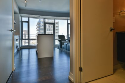 Suite Foyer With A Closet & Hardwood Flooring Throughout.