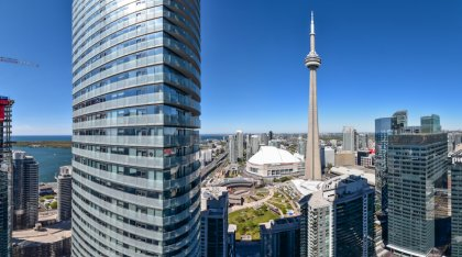 Stunning Unobstructed C.N. Tower Views & Lake Views.