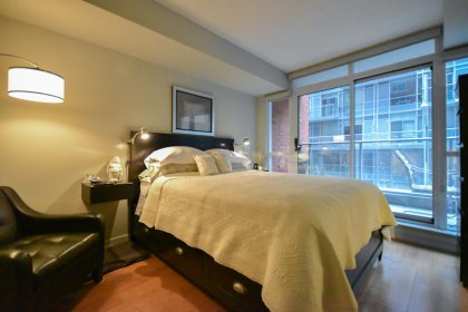 A Spacious Sized Master Bedroom With A 4-Piece Ensuite, Walk-In Closet With Upgraded Closet Organizers, Roller Shades & A Walk-Out To The Balcony.