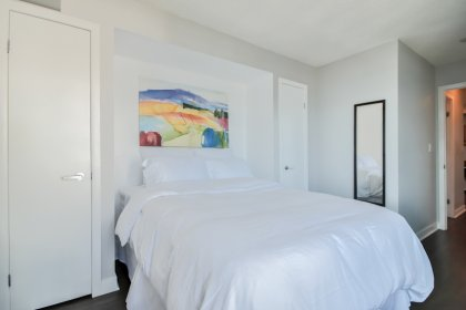 A Spacious Sized Master Bedroom With Double Closets & C.N. Tower / Lake Views.