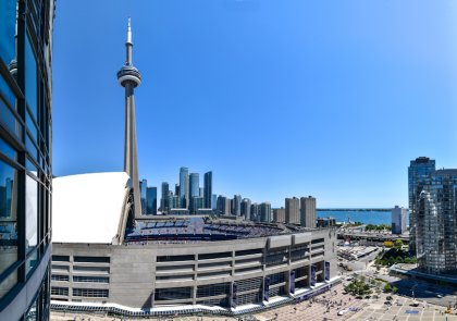 Onlooking The C.N. Tower, Rogers Centre & Lake Views.