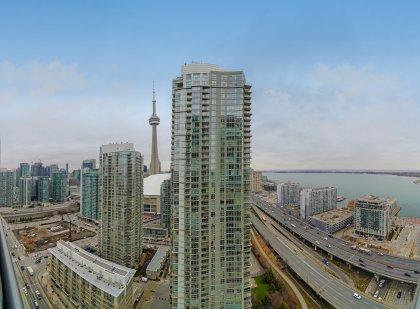 C.N. Tower and Lake Views.