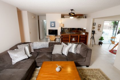 Livingroom with lots of space for a full size sectional.