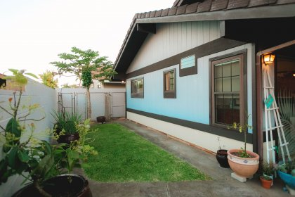 Large side yard with a dog kennel.