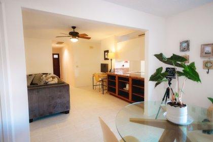 Livingroom and walkway.