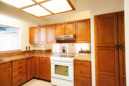 Remodeled large open kitchen with Granite counter tops and lot's of storage space.