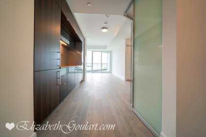 Suite Foyer With Laminate Flooring Throughout With A Closet.