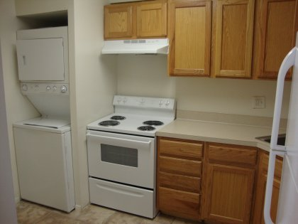 This is where you can cook and do your laundry at the same time with your full-size washer/dryer. Talk about multi-tasking!