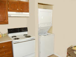 Eat-in kitchen with enough space for your stackable washer & dryer