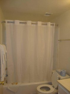 Spacious bathtub and vibrant shower for those