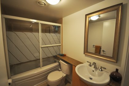 Granite Counter Tops With Upgraded Shower Doors & Faucet.