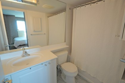 Master Bedroom Ensuite With A Full Size Mirror, 4-Piece Ensuite With Upgraded Marble Flooring.