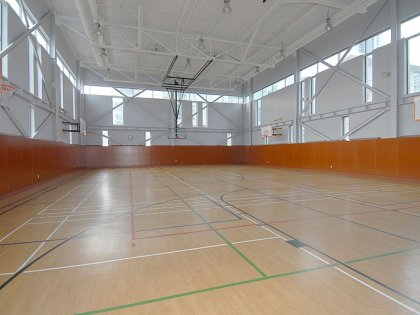 Indoor Full Size Basketball Court With 6 Nets.