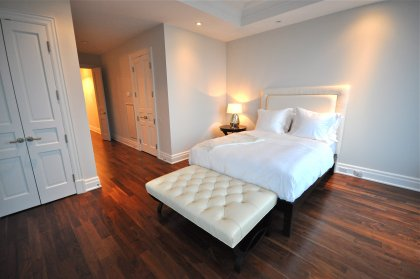 Bedroom With Gorgeous North Views, Coffered Ceiling, Pot Lighting, Hardwood Flooring, W/I Closet, 3-Piece Ensuite & A Walk-Out To The Terrace.