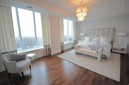 Master Bedroom With Gorgeous Direct South Views, His/Her Closets, Coffered Ceiling, Hardwood Flooring & A 5-Piece Ensuite That Has Heated Marble Floor