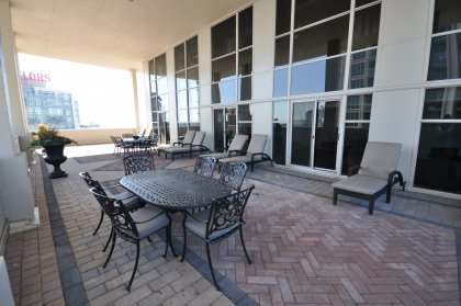 11th Floor Harbour Club Amenities. Outdoor Tanning Deck Overlooking Lake And Park Views With BBQ's.