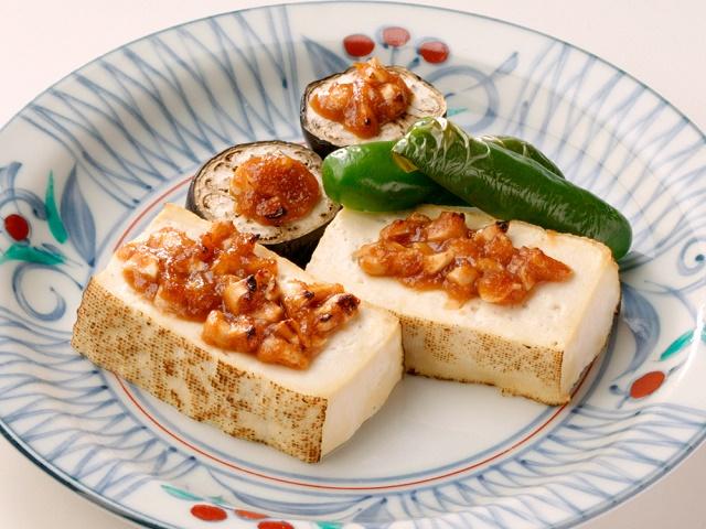 焼き豆腐のピーナッツみそ田楽