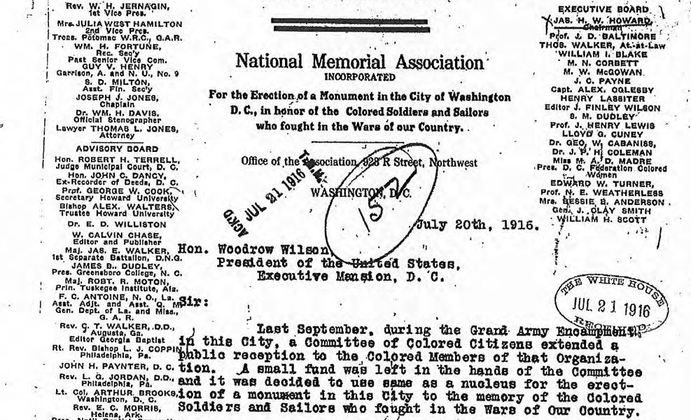 National Museum of African American History and Culture (NMAAHC) – Letter Requesting Establishment